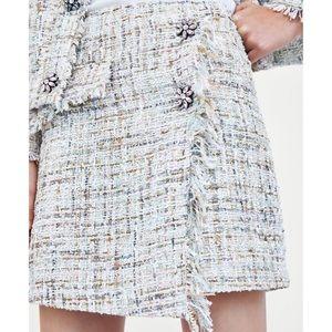 Zara Basic Tweed Frayed Boucle Wrap Midi Skirt L